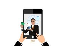 Contanti di offerta del banchiere precisi sullo smartphone illustrazione di stock