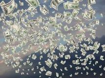 Contanti, dollari di carta, cadenti Fotografia Stock