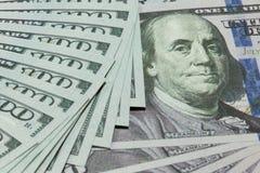 Contanti 100 dollari di fondo Fotografie Stock Libere da Diritti
