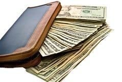 Contanti/soldi e un raccoglitore. Fotografia Stock Libera da Diritti