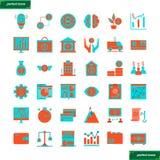Contare ed icone piane finanziarie messi illustrazione vettoriale