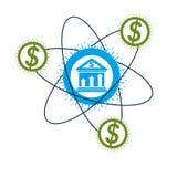 Contare logo concettuale, simbolo unico di vettore Sistema bancario Il sistema finanziario globale Circolazione di soldi royalty illustrazione gratis