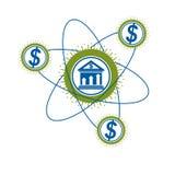Contare logo concettuale, simbolo unico di vettore Sistema bancario T illustrazione di stock