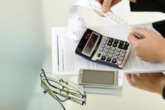 Contas calculadoras Foto de Stock Royalty Free