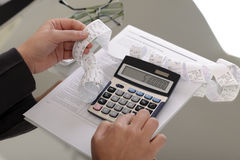 Contas calculadoras Fotografia de Stock