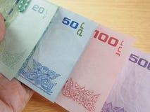 Contas de banco, coleção do dinheiro do baht tailandês, finança econômica Fotos de Stock Royalty Free