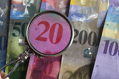 Contas de banco suíças Fotografia de Stock Royalty Free