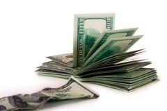 contas de Cem-dólar e a conta velha Fotografia de Stock Royalty Free