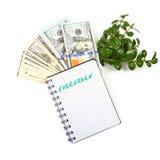 contas de Cem-dólar, um ramo de arbustos verdes e caderno na Imagens de Stock Royalty Free