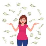 Contas de /currency do dinheiro/dinheiro/cédulas que caem em torno da mulher de negócio nova feliz bem sucedida isolada no fundo  ilustração royalty free