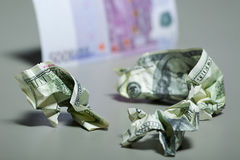 Contas de dólar amarrotadas Imagens de Stock Royalty Free