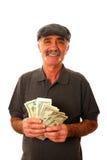 Contas de dólar da terra arrendada do homem Fotos de Stock Royalty Free