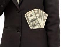 Contas de dólar E.U. no bolso do terno. fotografia de stock
