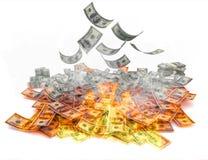 Contas de dólar no incêndio imagem de stock royalty free