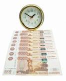 Contas de dinheiro desde a hora Fotos de Stock