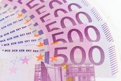 500 contas de dinheiro do Euro, dinheiro europeu da moeda Fotos de Stock