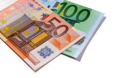 Contas de dinheiro do Euro 50 e 100 isoladas Fotos de Stock Royalty Free