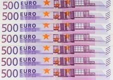500 contas de dinheiro do Euro, dinheiro europeu da moeda Fotografia de Stock Royalty Free