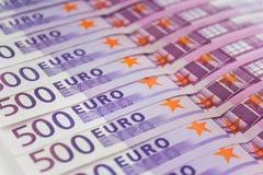500 contas de dinheiro do Euro, dinheiro europeu da moeda Foto de Stock Royalty Free