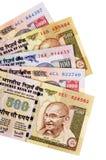 Contas de moeda da rupia indiana Imagens de Stock