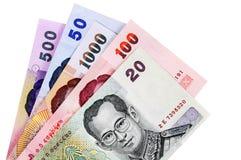 Contas de moeda do baht tailandês Fotografia de Stock Royalty Free