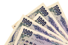 Contas de moeda dos ienes japoneses Foto de Stock Royalty Free