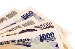 Contas de moeda dos ienes japoneses Fotografia de Stock Royalty Free