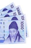 Contas de moeda ganhadas coreanas Fotos de Stock Royalty Free
