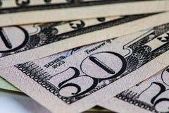 50 contas de USD em forma de leque Foto de Stock