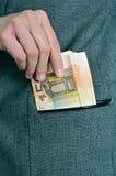 Contas do Euro no bolso Fotos de Stock