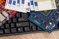 Contas do teclado e do Euro Fotos de Stock
