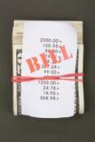 Contas e dólares Fotografia de Stock Royalty Free