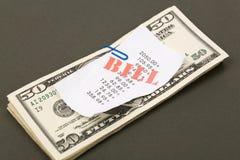 Contas e dólares Imagem de Stock