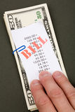 Contas e dólares Foto de Stock Royalty Free