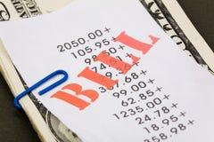 Contas e dólares Fotografia de Stock