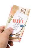 Contas e dólares canadianos Fotografia de Stock Royalty Free