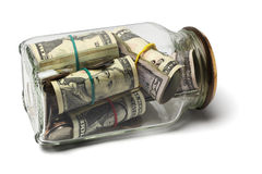 Contas e moedas dos dólares americanos Fotos de Stock Royalty Free