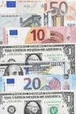 Contas e notas de dólar do Euro Foto de Stock Royalty Free