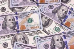 Contas novas e velhas de cem fundos abstratos do dólar Foto de Stock Royalty Free