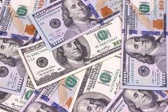 Contas novas e velhas de cem fundos abstratos do dólar Fotos de Stock