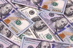 Contas novas e velhas de cem fundos abstratos do dólar Fotografia de Stock