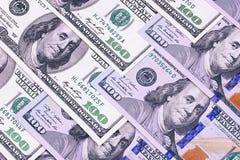 Contas novas e velhas de cem fundos abstratos do dólar Foto de Stock