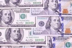 Contas novas e velhas de cem fundos abstratos do dólar Imagens de Stock Royalty Free