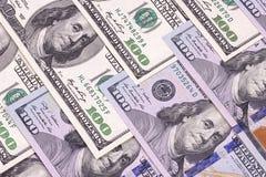 Contas novas e velhas de cem fundos abstratos do dólar Fotos de Stock Royalty Free