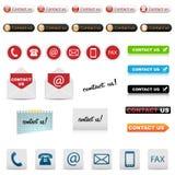 Contate-nos ícones Fotografia de Stock Royalty Free