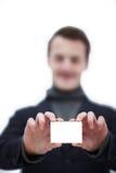 Contate-nos!!! Homem novo considerável Fotos de Stock Royalty Free