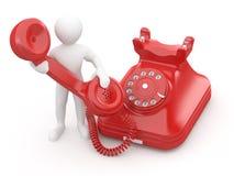 Contate-nos. Homens com telefone. 3d Imagens de Stock