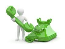 Contate-nos. Homens com telefone. 3d Fotografia de Stock Royalty Free