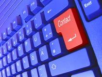Contato azul do teclado Fotografia de Stock Royalty Free
