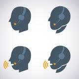 Contato dos auriculares. Live Help. Ícone do apoio. Imagem de Stock Royalty Free